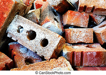 Pile of bricks - Dramatic hdr rendering od red brick rubbles...