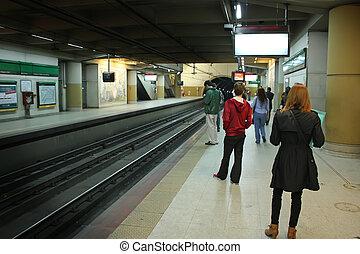 Passengers waiting the subway