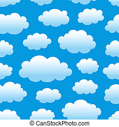 cloudy sky pattern - blue cloudy sky seamless pattern