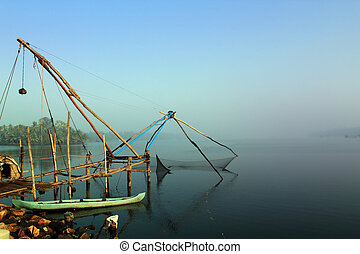 Kerala cochin backwaters with chinese fishing net - Kerala...