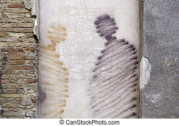 Cityscape - Detail of a landscape painted on a wall in a...
