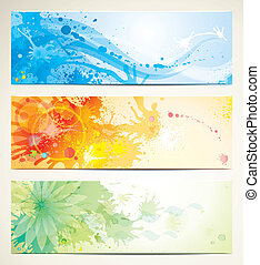 Artistic Banners - Set of watercolor style header banners.