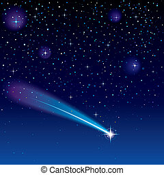 Shooting Star - Shooting star going across a starry sky
