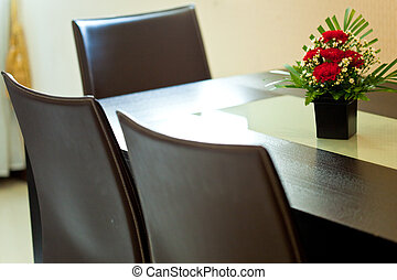 Dining room with flower