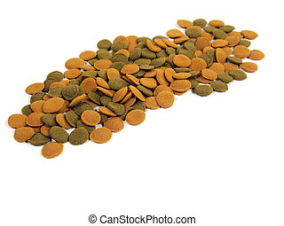 fish food for aquarium on a white background