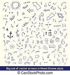 azul, desenhado, jogo, setas, mão