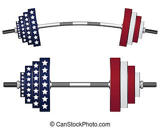 us flag weights against white background, abstract vector...