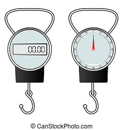 classic and digital hook scale against white background,...