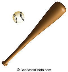 basebal bat and ball against white background, abstract...