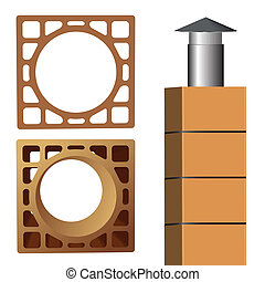 chimney brick and pipe end metallic cover, abstract vector...