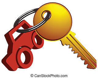 car and key on the same ring against white background,...