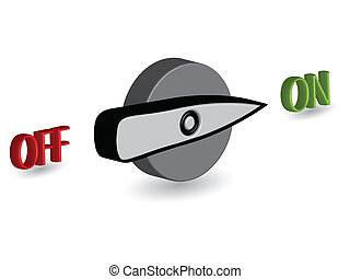 3d on off switch against white background, abstract vector...