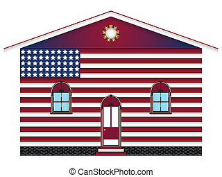 us house - us flag painted house over white background,...