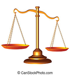 scale of justice - golden scale of justice against white...