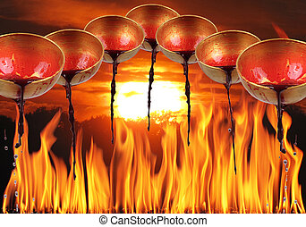 sunset - 7 bowls are poured with blood and a sunset in fire...