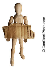 Woody doll with sign - Woody doll holding a blank cardboard...