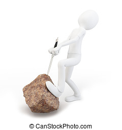 3d man with sword in rock on white background