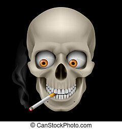 Human Skull with eyes and cigarette. Illustration on black...