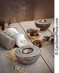 Natural spa setting - Spa and wellness setting with natural...