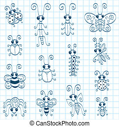 Doodle insects - Some doodle insects an ant, a stick insect,...