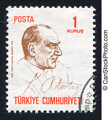 Kemal Ataturk - TURKEY - CIRCA 1970: stamp printed by...
