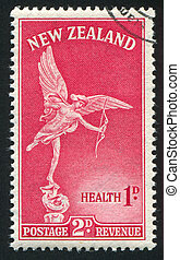 Statue of Eros - NEW ZEALAND - CIRCA 1947: stamp printed by...