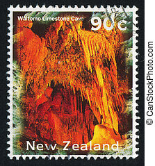 Waitomo Limestone Cave - NEW ZEALAND - CIRCA 1996: stamp...