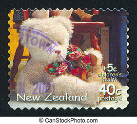 Teddy Bear - NEW ZEALAND - CIRCA 2000: stamp printed by New...
