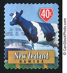 Monument of Cow - NEW ZEALAND - CIRCA 1998: stamp printed by...