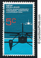airplane - NEW ZEALAND - CIRCA 1973: stamp printed by New...