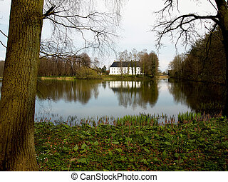 Beautiful country mansion house by a lake Denmark -...
