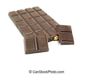 Chocolate bar with hazelnut on a white background