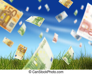 Money concept. - Euro money fly over blue sky background.