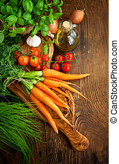 Fresh vegetables - Fresh ingredients for cooking in rustic...
