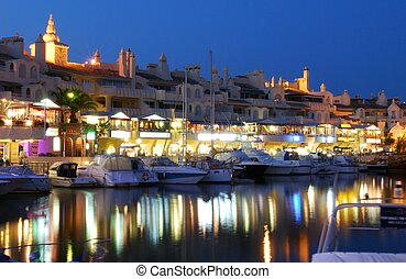 Marina area at dusk, Benalmadena. - View of yachts and...