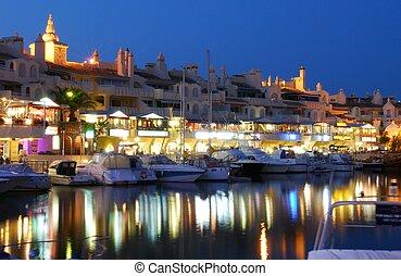 Marina area at dusk, Benalmadena. - View of yachts and...