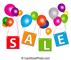 Balloons with sale letters . Concept of discount. Vector...
