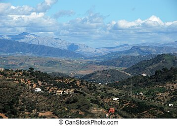 Countryside around Monda, Spain. - View of the mountainous...