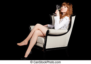 sexy young woman with glass of cocktail i - sexy woman on...