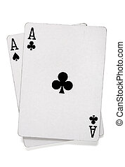 Pair of aces with poker cards with clipping path.