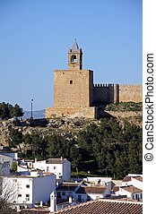 Castle and townhouses, Antequera - Castle fortress with...