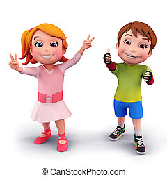 Happy kids with victory sign - 3D illustration of Happy kids...