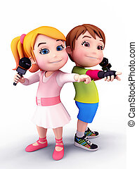 Smiling kids with mikes - 3D illustration of Happy kids with...