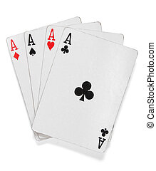 Four aces. Poker cards over white with clipping path