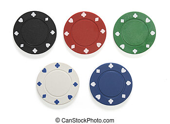 Various gambling chips isolated on white, with clipping path