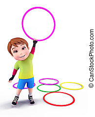 Cute boy with playing rings - 3D illustration of Cute boy...