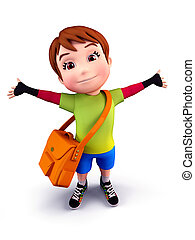 Cute boy with school bag - 3D illustration of Cute boy with...