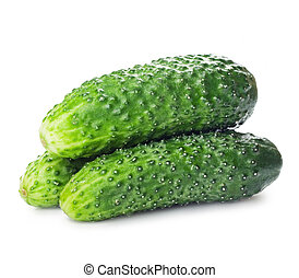 cucumbers - Healthy food. The green cucumbers on white...