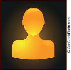 Orange glossy user icon isolated on black background