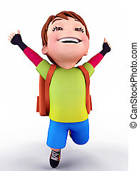 Happy boy flying with school bag - 3D illustration of Cute...